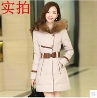 2014 Winter women's slim medium-long raccon wool collar thickening down coat butterfly belt buckle Free shipping