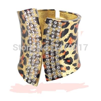 Quality women's fashion alloy gold bracelet arm cuff bracelet large luxury Leopard jewelry bracelet punk rock drawing printing(China (Mainland))