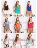 New 2014 Woman Brand Top Basic Female Chiffon Sleevelss Shirt Blouse Blusas Femininas Tank Tops Free Shipping Many Colors
