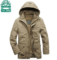 NianJeep 2015 New Design Real Men Outdoor Jackets,Cotton&Cashmere Lining Double Layer Coats,Winter Hooded Coat,4xl Plus Size