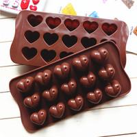 15 with heart-shaped chocolate mold  ice lattice mold  silicone bakeware cake tools silicone mold cupcake silicone cake mold