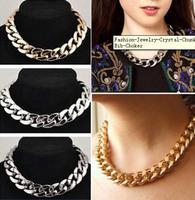 Fashion Punk Style Jewelry Crystal Chunky Statement Chain Pendant Necklace Bib Choker