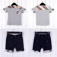 2014 New Boys and girls summer short-sleeved clothes Set Children's brand casual cotton Set Baby clothes & Pants Free shipping