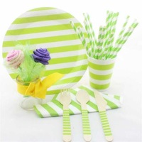 New stripe Party Supplies Wooden Forks Knifes Spoons paper cups paper straws paper bags party supplie round paper plates