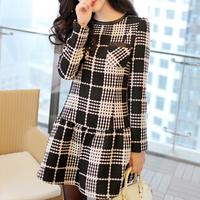 Hot New Fashion casual all match long sleeve white and black plaid dress women 2015 autumn winter slim elegant female vestidos