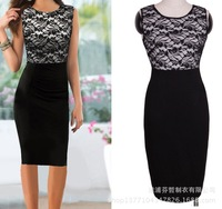 Free Shipping 2014 Sexy Lace Dress Short Tight Mini Luxury Club Satin Women Clothes sequined Party Evening black dresses