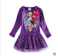 Retail!2015 Cartoon Children Clothing Girls Princess Dress Cartoon Kids Party Lace Dresses Anna Elsa Printed Bow Purple Clothes