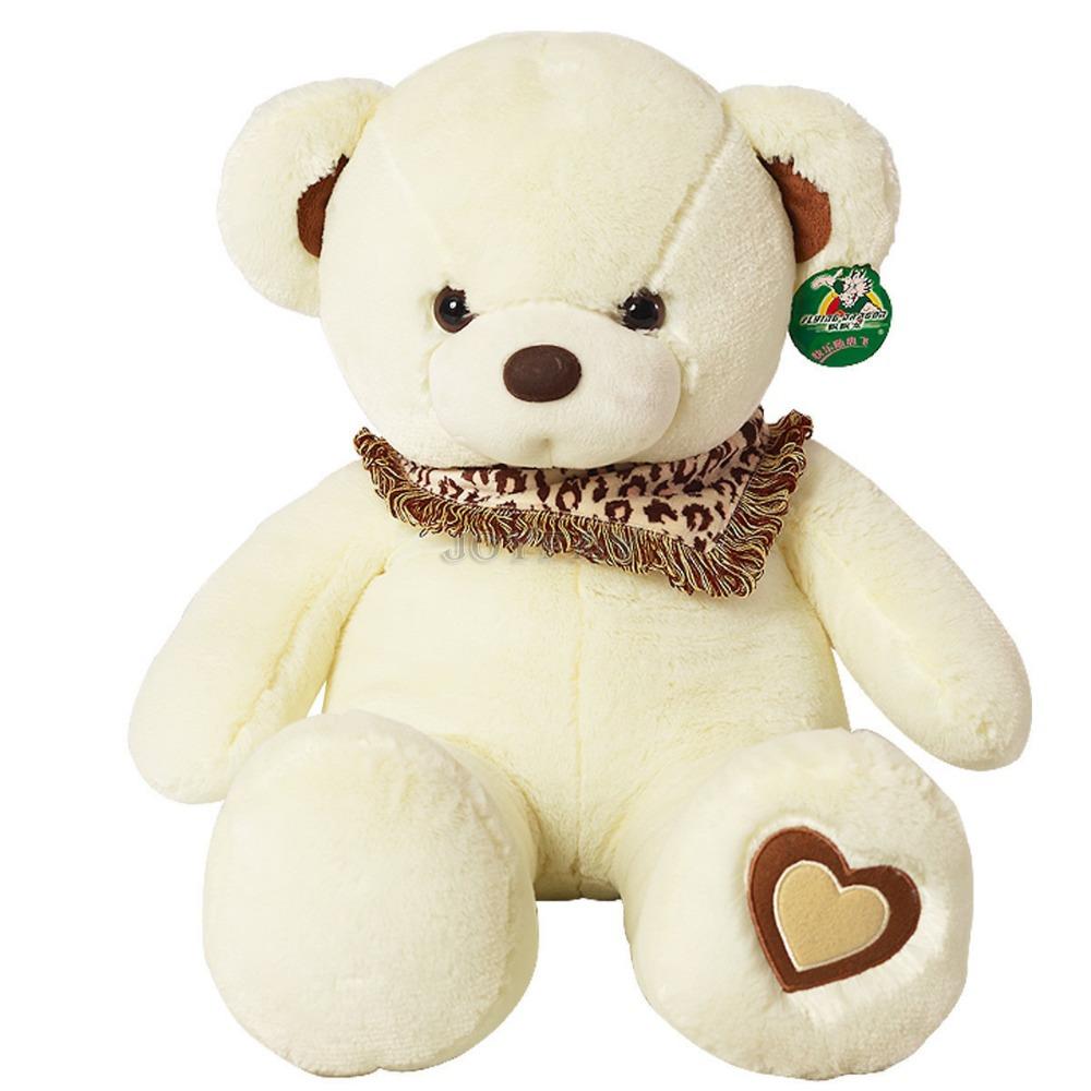 Soft Big 30'' 75 cm White Teddy Bear Heart Stuffed Plush Animal Toy Best GIft for Girlfriend(China (Mainland))