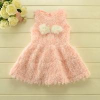 New 2015 Hot  Boutique girls clothing baby girls Rose Petals fur vest dress girls sweet thicken fur party dress 5pcs/lot