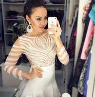 sexy transparent mesh Irregular striped Blouse Female Long-Sleeved Shirt Slim Blusas Femininas  2014 Summer New Print Shirt