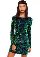2015 Elegant Vestidos Women Green Sequin Dress Sexy Deep O-Neck Casual Dresses Flash Paillette Cocktail Party Dress Plus Size