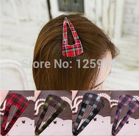 Free Shipping 2014 New Wholesale 20pcs/Lot Cute Girls Tartan triangle Hair Clip Fashion Hairgrips Hair Accessories(China (Mainland))