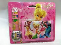 New 200sets Tinkerbell Children's CARTOON WATCH W/GIFT AND wallet+Free Shipping Drop shipping