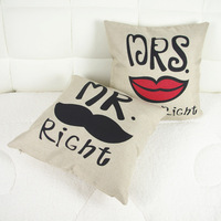 Home Love Heart Couple Throw Decorative Cotton Linen Mr Mrs Right Pillow Case Cushion Linen  Cover Christmas Gift