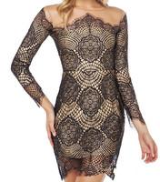 New 2014  Women Summer Dress Sexy Club  patchwork egant elastic Long sleeved lace stitching slim  dresses  S-XL