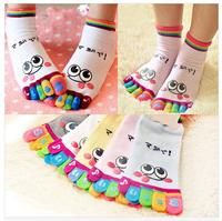 2014 popular cartoon cotton five fingers socks Cotton five toe socks wholesale