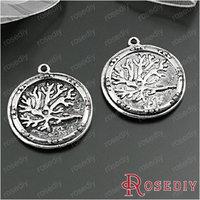 (28899)Diy Jewelry Accessories,Vintage Charms & Pendant 25MM Antique Silver Alloy Round Tree pendants 10PCS