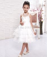 Retail Children wedding dress girls princess dress Korean Flower girl dress tutu big virgin pearls Halter free shipping T-B2