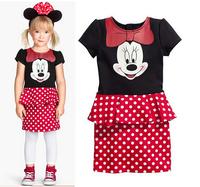 BB061 Free shipping 2014 baby girl's dress children's brand summer dress kids cartoon short sleeve dress retail and wholesale