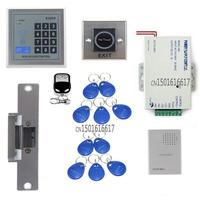 FreeShipping DIY RFID Reader Keypad Access Control System Kit Set +Electric Strike Door Lock +RFID+Power +Exit Button+Door Bell