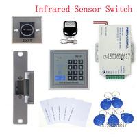 DIY Remote control RFID Keypad Access Control System Full Kit Set + Electric Strike Door Lock+ Infrared Sensor Switch