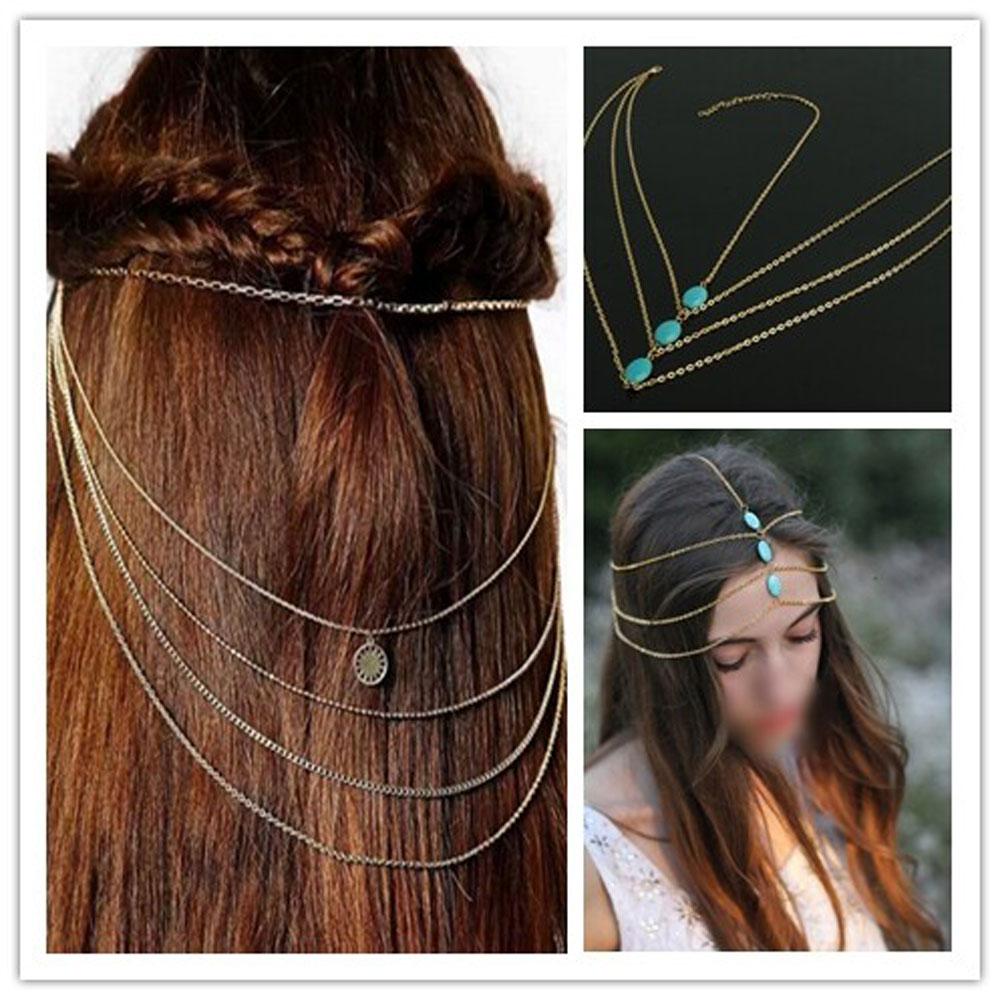 Women Fashion Metal Tassel Head Chain Jewelry Headband Head Piece Hair Band Comb(China (Mainland))
