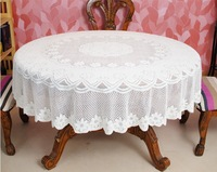 200cm Round Lace Crochet White Flower Tablecloth Table Cover Cloth  for Home Hotel Wedding Party Banquet