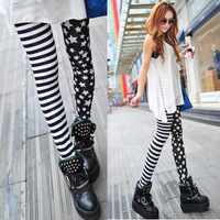 Womens Leggings Autumn Spring Thin Stars Strip Patchwork Slim Skinny Fashion Leggings For Woman Lady Leggings Pants Trousers