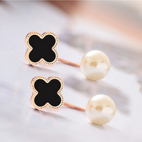 Fashion Pearl Earring Gold Titanium Women Stud earrings Flower double sided earrings