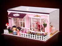 Wooden Dollhouse Miniature Model DIY Kit Nice House With Light