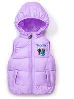 1pcs Retail 2014 winter Hot Children's Anna&Elsa kids girl hooded character cotton vest free shipping T-V1