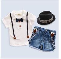 Retail 2015 New arrive Summer children's clothing set Outfits Sets Kids Cloth boys 2 pcs set cotton % T-shirts + denim shorts