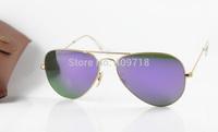 2015 New Style Fashion Metal Sunglass Brand Sunglass Men's/Woman's Designer 3025-112/68F Gold Sunglass Purple Iridium Lens 58mm