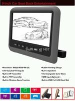 one pair 9 inch headrest car dvd player with digital panel  games IR FM USB SD