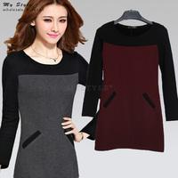 2014 New Fashion Elegant Ladies Latest Design Plus Size Clothing Long Sleeve Winter Thicken Women Casual Dress S - XXXL 2148