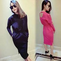 * Panda * 2014 autumn and little halter dress solid bat sleeve design thickened base skirt