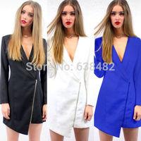 Sexy Women Plunge Neck Asymmetrical Zip Pointy Blazer Suit Coat Dress