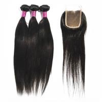 "Straight 1 Piece Lace Top Closure and 3Pcs Hair Bundle 100% Brazilian Virgin Hair Weft 4pcs/lot 12""-30"" beautiful and amazing"