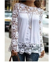New Arrival Stylish Round Neck Long Sleeve Fashion Design Plus Size Hollow Out Blouse For Women Stylish Solid Color Women Top