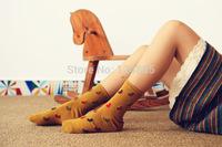 Autumn Winter Print Series Women Cotton Socks For Female Sweet Cute Socks New Arrival 3 pairs 52278
