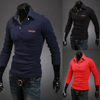 The spring and autumn period and the new fashion men's long sleeve polo shirts men's  bag leather standard polo shirt