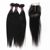 Brazilian Virgin Hair with closure 3pcs unprocessed virgin brazilian hair with closure Straight hair Middle Part Lace Closure