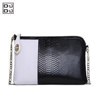 Free shipping women's genuine leather handbag fashion serpentine pattern day clutch evening bag leather bag