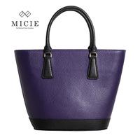 women's handbag color block brief casual tote bag lychee cowhide bucket bag