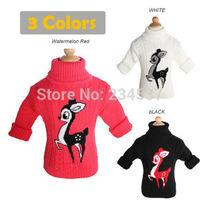 cartoon Deer new 2014 winter warm baby sweater boy girl child turtleneck sweater