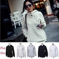 [Magic] 2014 Hot cotton hoody hoodies women sweatshirt Special design Zipper Snaps Pocket casual sweatshirts 3 color size S-XXXL