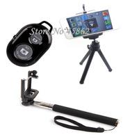Black Monopod Selfie Stick with Wireless Shutter Remote with Tripo Monopodd
