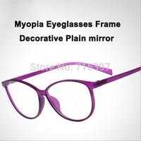I-bright 2015 New arrival jelly color decorative big eyeglasses frame optical prescription myopia glasses frame plain mirror