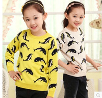 Free shipping autumn winter children Knit sweater girls brand new cardigan kids cotton o-neck sweater cartoon fashion top t1551