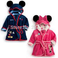 Kid Girls Boys Minnie Mickey Sleep Night Wear Fleece Robe Bathrobe